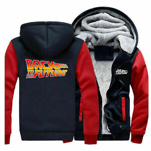 Movie Back To The Future Winter Warm Hoodie Zip up Jacket Coat