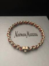 New CHANEL CC Quilt Woven Leather Matte Light Gold Metal Logo Bracelet Bangle