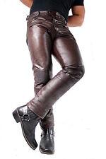 Herren-Lederhose Jeans braun Tight pants slimfit Ziegen-Nappa-Echtleder W29-W40