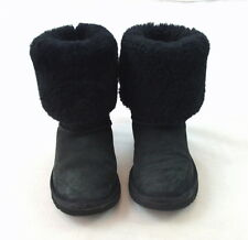 UGG AUSTRALIA Black Leather Shearling Sheep Fur Lined Cuffed Boots Womens Size 3