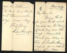 1889 Andrew Carnegie - ALS regarding Isthmus of Panama - and his book - EX RARE