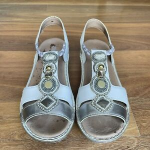 ARA  Leather sandals Shoes Orthotic Comfort Low Heel Jewled  Sz 38 / 8 Ex Cond