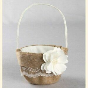 Ivory Rustic Garden, Burlap and Lace, Flower, Wedding Flower Basket