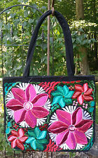 Maya Mexican Hand Embroidered Zipper Tote Bag Chiapas Flowers Floral Teal Pink