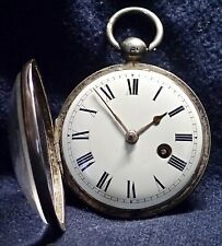 Open Face Fine English Working VERGE Fusee Silver Pocket Watch London 1827