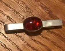 """NE FROM"" Denmark Vintage Sterling Silver & Amber Modernist Tie Bar"