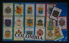 x18 De La Rue De Colombia City Arms Stamp Collection - $1-$55 Colombian Peso