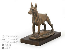 Doberman cropped, dog bust/statue on wooden base , ArtDog , Ca