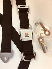 Austin Healey Vintage Style Seat Belt Black Factory BMC Logo Includes Hardware