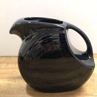 "Vintage Fiesta Large Fiestaware Pottery Water Pitcher Cobalt Blue Glaze 7-1/4"""