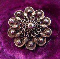 Hübsche Silber Brosche Filigran Jugendstil Art Deco Blume Blüte Rund Fein Edel
