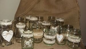 Rustic Wedding Table  Decorations 16 Upcycled Assorted Jars Hand Decorated