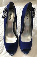 Blue Sued Peep Toe High Heels w/ Silver Zipper Rosette Accent by Qupid Size 8.5