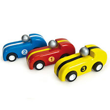 NEW PAPO Le Toy Van Budkins Wooden Pull Back Racers Set - Red Yellow Blue 8.5cm