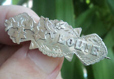 Victorian Stg. Silver Name Brooch h/m 1900 -  LOUIE  or  Louis , Louise , Louisa