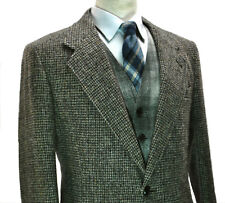 Harris Tweed Barleycorn Jacket 38L Small Long Grey Beige Fleck Blazer Tall Check