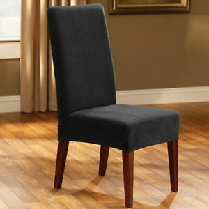 Stretch Piqué waffle weave stretch Short Dining Chair Slipcover Jet black