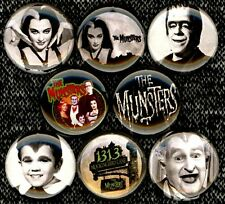 The Munsters x 8 NEW pins button badge herman lily eddie grandpa tv show