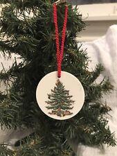 Spode Porcelain Christmas Tree Ornament Flat Round Holly England circa 2000