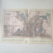 c1889 Brighton British Isles Map Bacon Antique Vgc