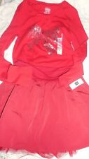 Nwt red silver bow top Gap Kids red tulle hem skirt set Christmas ! girl 14 16