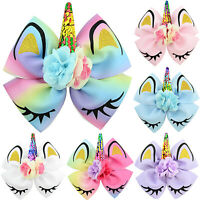 "8"" JOJO Girls Christmas Unicorn Hair Clips Bow Glitter Rainbow Bowknot Headwear"