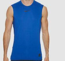 $115 Nike Pro Men's Athletic Blue Crew-Neck Swoosh Logo Top Size L *Damaged*