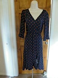Pretty navy  blue and orange heart print dress from Oasis size 8