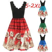 Women Sleeveless Xmas Christmas Cats Musical Notes Print Vintage Flare Dress AB