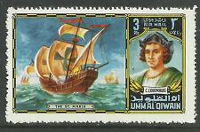UMM AL QIWAIN CHRISTOPHER COLUMBUS Navigators Explorers Santa Maria SHIP 1v MNH