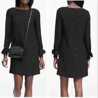Banana Republic Womens Solid Black Ruffle Sleeve Button Back Shift Dress Size 6