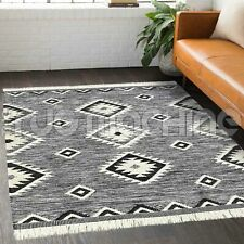 Tozeur Black White Moroccan Tribal Geometric Design Modern Rug - 3 Sizes **NEW**