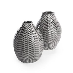 Ceramic Vases Set of 2 Grey & White Leaf Inspired Decor Vases For Flowers M&W