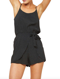 MINKPINK Emelie Tie Front Polka Dot Jumpsuit Romper Playsuit Size S RRP $80