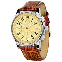 Edle Herrenuhr JJC Chronograph Armbanduhr Edelstahl Beige Leder-Made in Germany-
