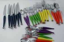 lot colored plastic handle flatware forks knives spoons vintage MCM look FLAWS