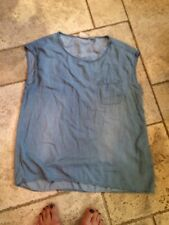Chico's 1  Stone Washed Denim Look Top Sleeveless High Low Sz 6-8