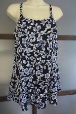 Maxine Of Hollywood Swimdress Vintage Blues Floral Sz 14