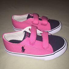 Little Girls Polo Ralph Lauren Canvas Shoes Size 10 C Hot Pink / Navy New