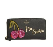 NEW Kate Spade Ma Cherie Cherry Sequin Applique Lacey Leather ZIP Around Wallet