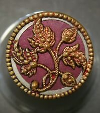 Vintage Antique Large Tinted Pink Floral Brass Button