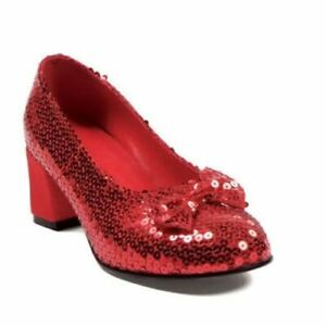 """Ellie Shoes Dorothy Ruby Red Slippers Sequins Costume 2"""" Heels Shoes 203-JUDY"""