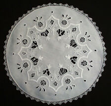 9 Antique Italian Round Placemats Whitework Embroidery With Cutwork