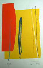 Larry Zox  Niagara Series IV Yellow Signed Linocut Lithograph