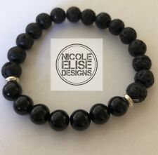 Aromatherapy Diffuser bracelet lava stones Black Agate 8mm essential oil 18cm
