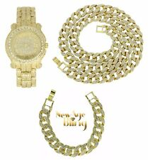 Iced Out Set 14k Gold Plated HipHop Cuban Link Chain Bracelet Rapper Watch