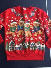 Vintage Ugly Christmas Sweater Sweatshirt Nutcracker Sz Small Teddy Bears Detail