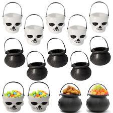 2X Mini Plástico Calderas De Caramelo Calavera BRUJA CALDERO titular Accesorios de Halloween Fiesta