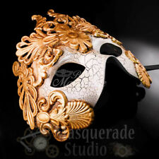 Mens Greek Roman Warrior Venetian Masquerade Mask with Crackle Paint [Gold]