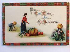 Halloween Fantasy Postcard  Gottschalk woman men w/JOL heads UNUSED1909-15